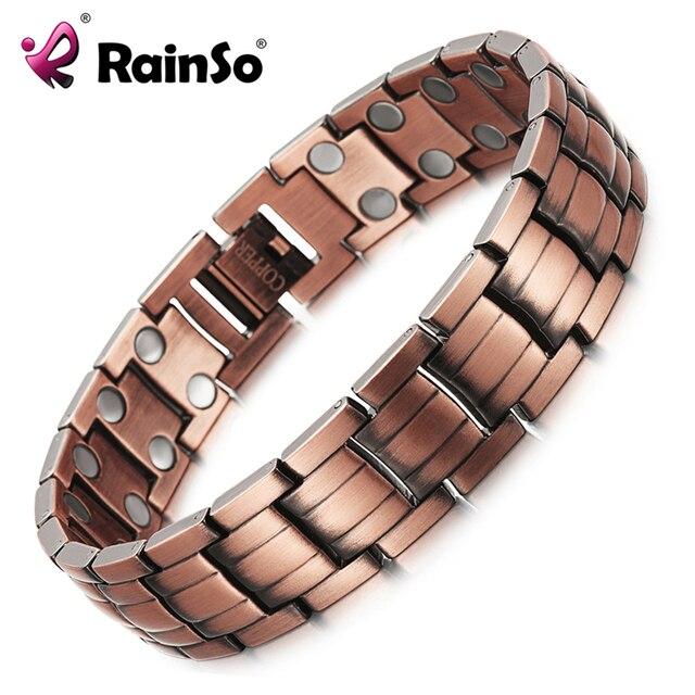 Rainso Red Copper Magnetic Bracelet For Men Women 2 Row Magnet Healthy Bio Energy Bracelets
