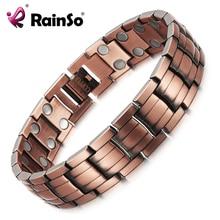 RainSo czerwona miedź bransoletka magnetyczna dla kobiet mężczyzn 2 wiersz magnes zdrowe bioenergetyczna bransoletki i Bangles 2019 dzień ojca prezent