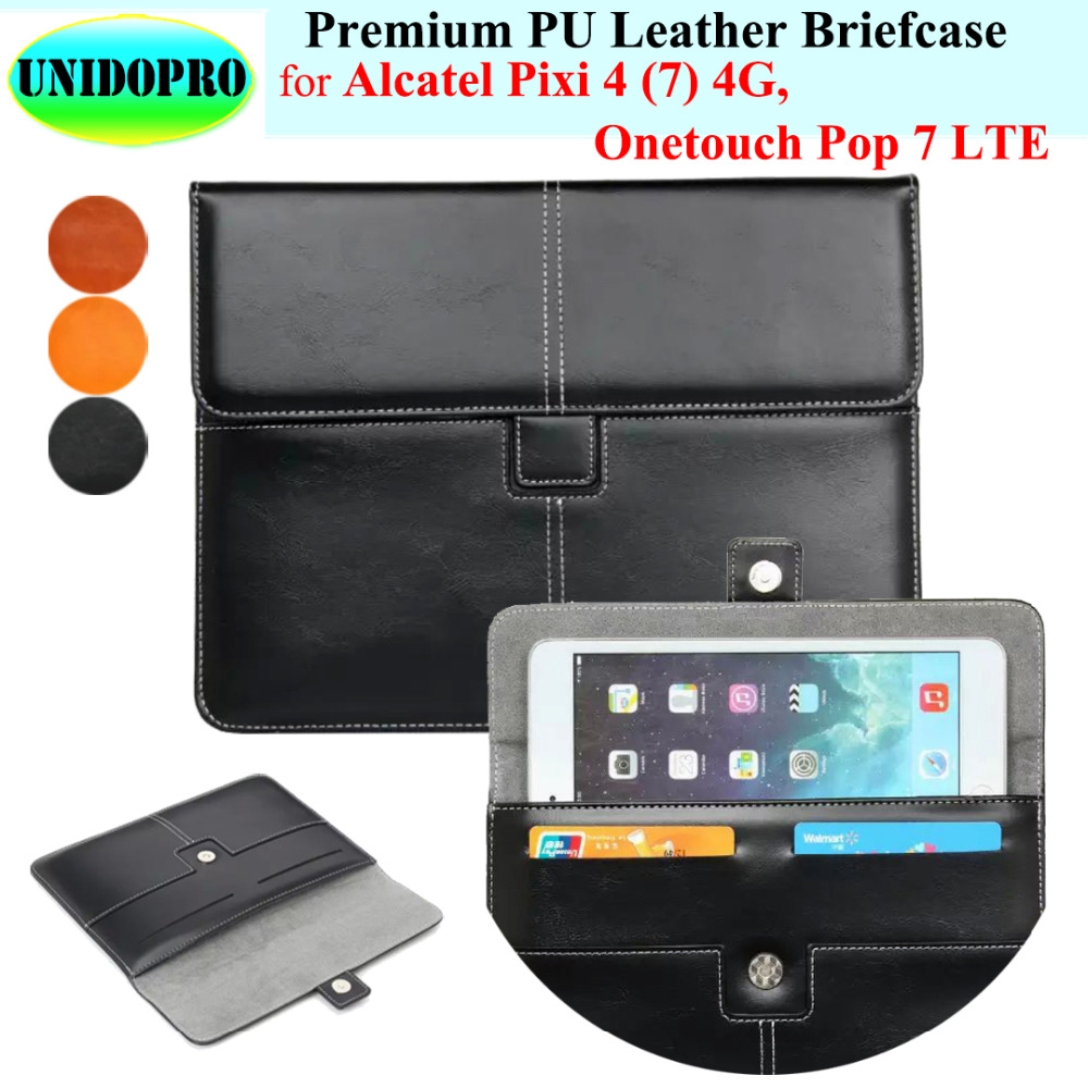 Premium PU Leather Slim Sleeve Bag for Alcatel Pixi 4 (7) 4G, Onetouch Pop 7 LTE Briefcase Pouch Case w/ Credit Cards Holder аксессуар чехол alcatel onetouch 6033x idol ultra ibox premium кожаный black