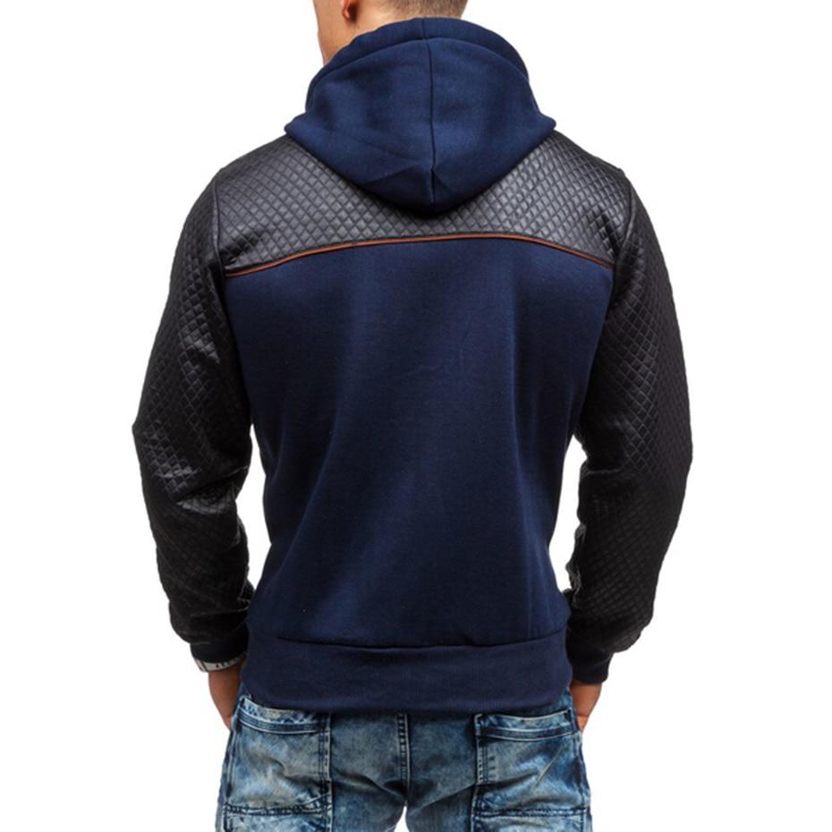 2019 New Fashion Men's Hoodies Tracksuit Casual Solid Color Long Sleeve Sweatshirt Male Zipper Slim Plus Size Hoodie