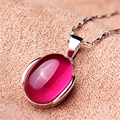 925 Sterling Silver Vintage Natural semi-precious stones red corundum pendant love female high-end authentic girlfriend gift