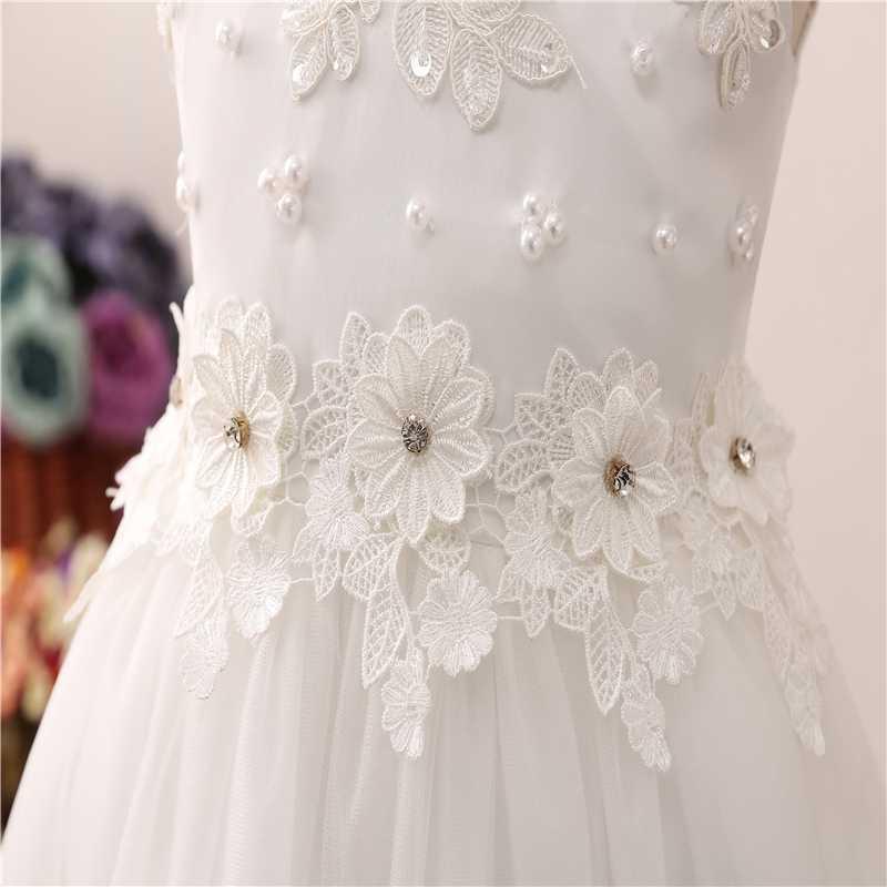 Frente curto Longo Voltar Formal de Concurso de Beleza Para Meninas de Flor Vestidos 2019 Partido Comunhão vestido de Baile de Casamento de Cristal Decoração