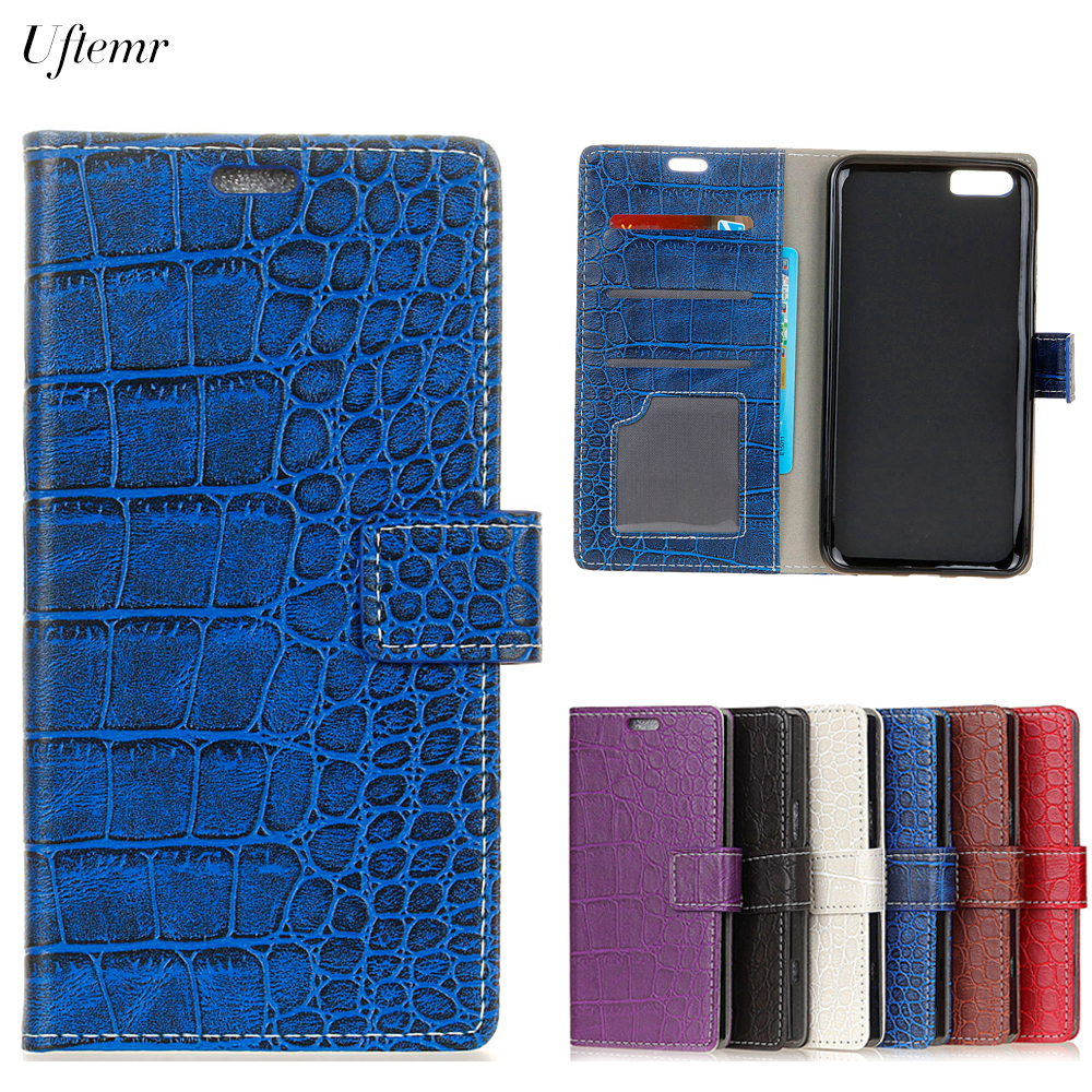 Uftemr Vintage Crocodile PU Leather Cover For Doogee Shoot 2 Protective Silicone Case Wallet Card Slot Phone Acessories