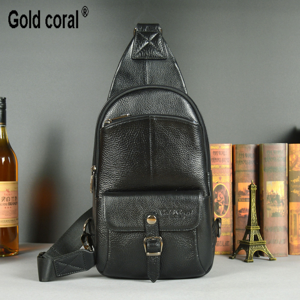 ФОТО 100% guarantee genuine leather chest pack for men shoulder bags male messenger bags cowhide male crossbody bags