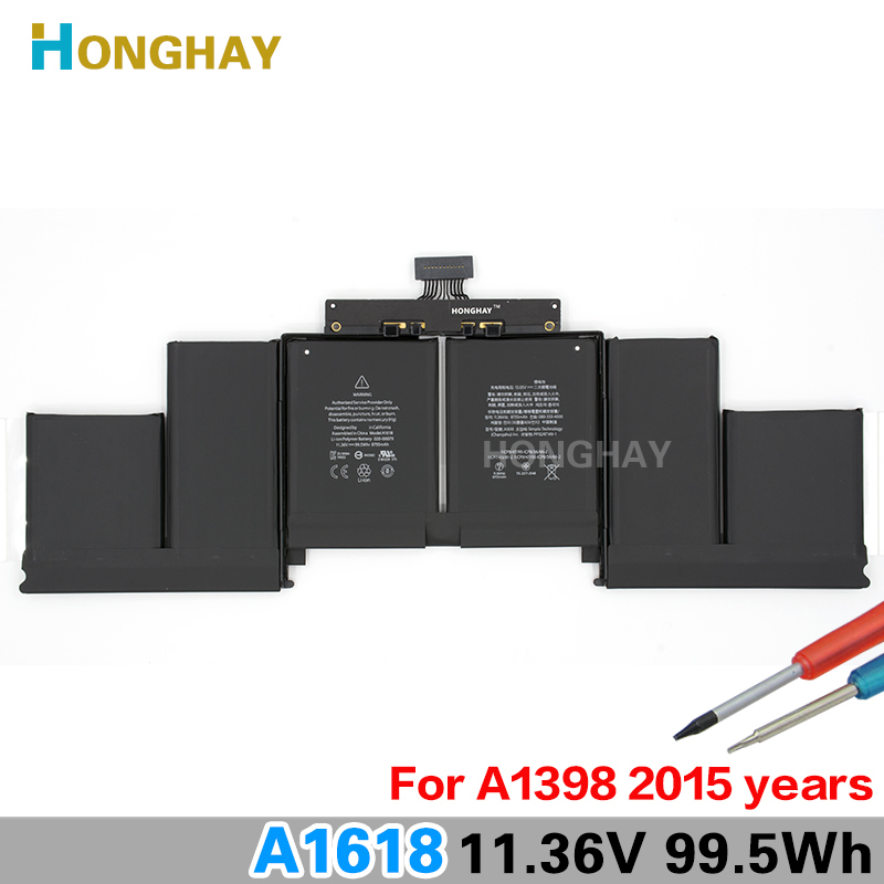 Honghay A1618 Laptop Battery for Apple or Macbook Pro 15 A1398 Retina 2015 020-00079 11.36V 99.5Wh 8755mAh new lmdtk new laptop battery for apple retina me293 me294 a1494 a1398 2013 2014 year
