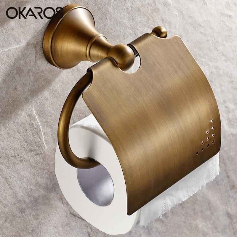 OKAROS Bathroom Creative WC Toilet Paper Holder Oil Rubbed Bronze Antique Black Paper Roll Holder Accessoriesporta