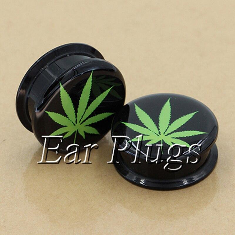 1 pair pot leaf ear plug gauges tunnel acrylic screw flesh tunnel body piercing jewelry PAP0532