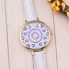 Fashion Women Watch Floral Pattern Leather Band Analog Quartz Wrist Watch  relogio dropshopping Gift   free shipping #40