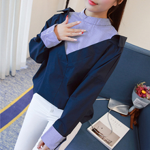 DoreenBow New Puff Long Sleeves Blouse Tops Women Fashion Spring Autumn O Neck Striped Spliced Blue White Yellow Shirts, 1 Piece