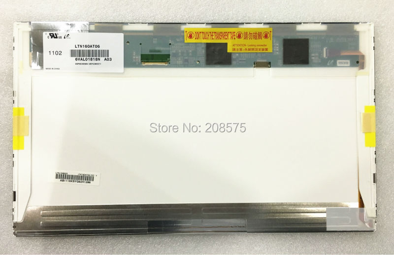 Livraison gratuite origine ltn160at06 hsd160phw1 16.0 ordinateur portable lcd panneau d'affichage pour asus n61vg n61j x66ic