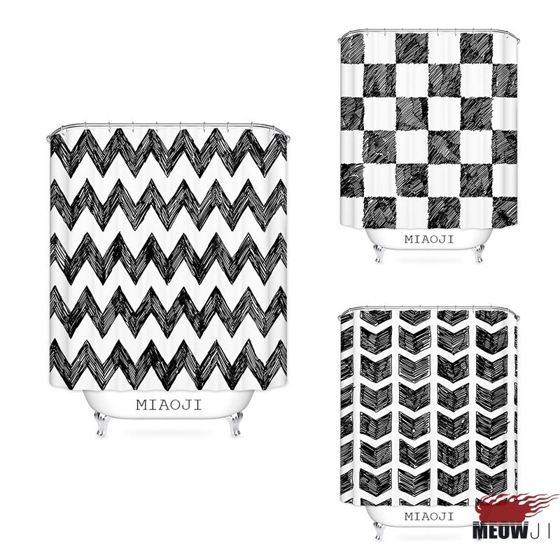 Best Buy MIAOJI Casual Graffiti Lines Black And White Shower Curtain Printed Polyester Fabric Bathroom Decor With Hooks Free Shipping Online Cheap