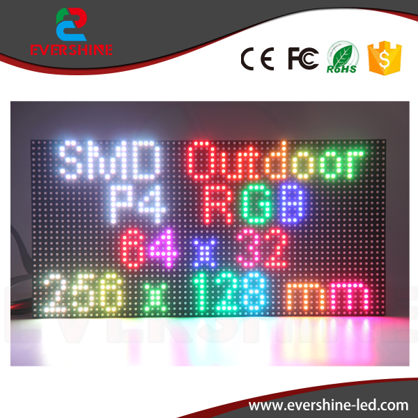 Hot sale High brightness 1/8 scan outdoor SMD 3in1 P4 led module rgb 256*128mm for outdoor full color led display video tv board  p7 outdoor dip full color led panel display module high resolution high brightness high refresh high quality