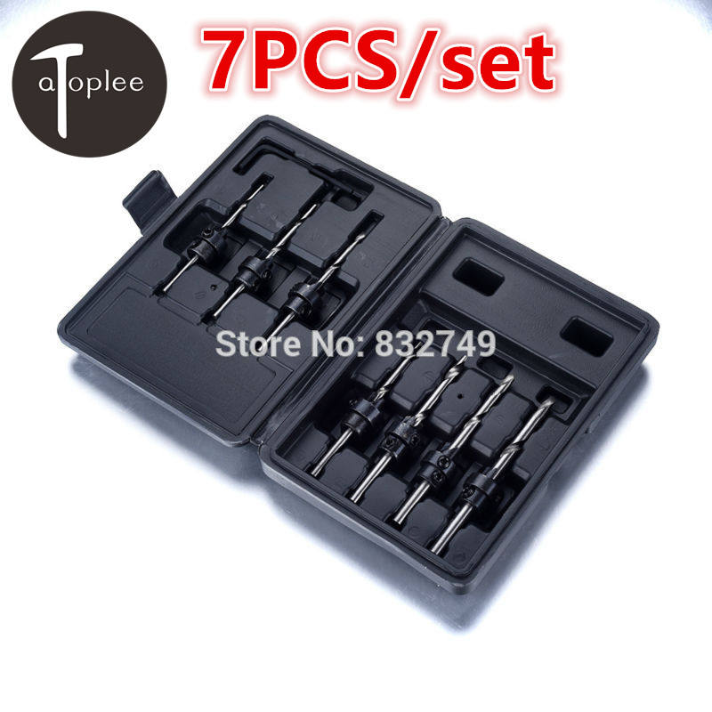 7PCS/set 5# 6# 7# 8# 9# 10# 12# Carpentry Countersink Drill Bit HSS 45#Steel Drill Bit Set + Black Box Woodworking Tools зимняя шина kumho i zen kw31 225 45 r17 94r
