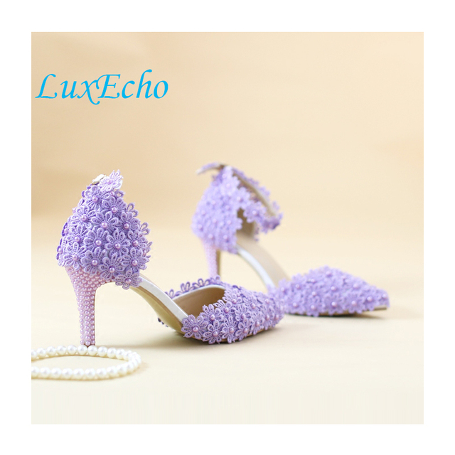 White/purple/pink/green/bkue small lace flower party shoes pointed toe thin heel wedding shoe Summer sandal 8cm heel party shoes