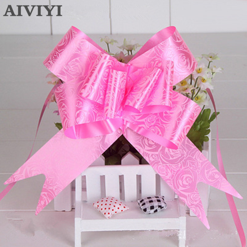 10pcs/lot pull flowers Rearview Mirror Flower creative bow tie car florist supplies wedding decoration party decoration