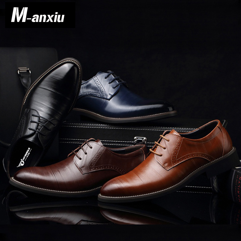 M-anxiu Men Casual Flat Classic Men Dress  Genuine Leather Wingtip Carved Italian Formal  Oxford Plus Size 38-48 Lace Up Shoes 2017 new italian modern men formal oxford shoes genuine leather crocodile print brown lace up dress men s footwear 1815 810