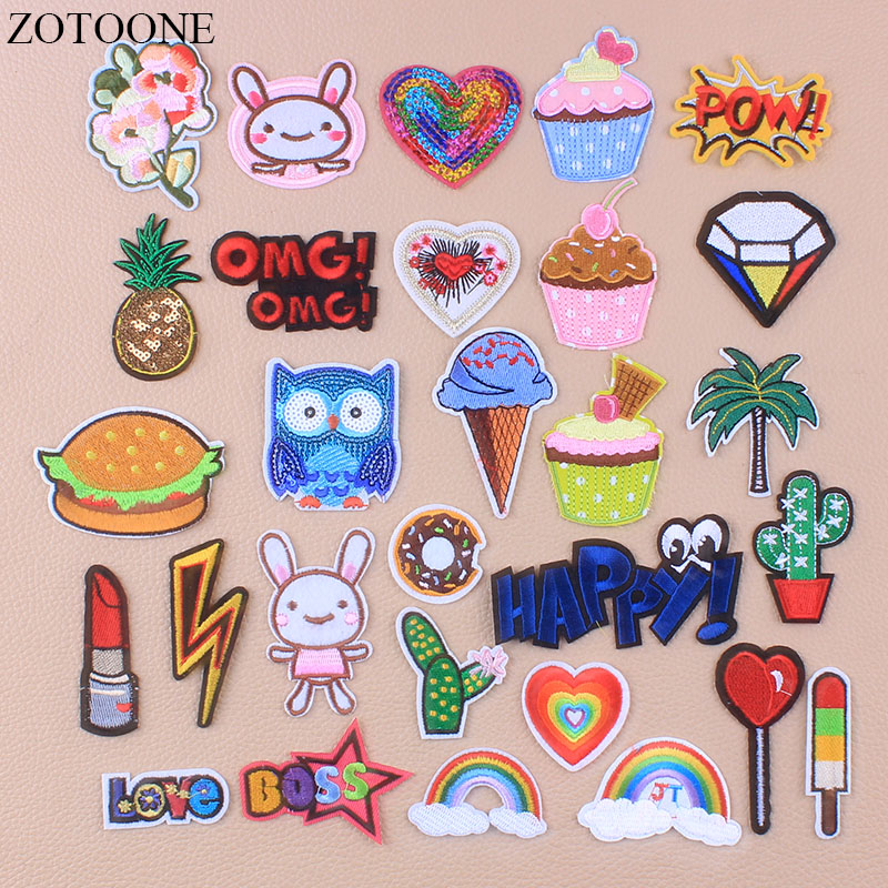 ZOTOONE Animals Embroidery Patches For Clothing DIY Stripes Appliques Owl Clothes Stickers Iron On Badges Heart Sequin Patches