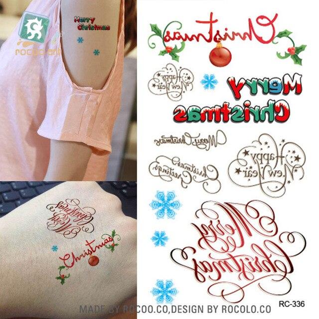 Frohe Weihnachten Brief.Us 0 82 Neue Frohe Weihnachten Bunte Design Worter Brief Fake Tattoo Taty Temporare Tattoo Body Art Sticker Wassertransfer Tattoo In Neue Frohe