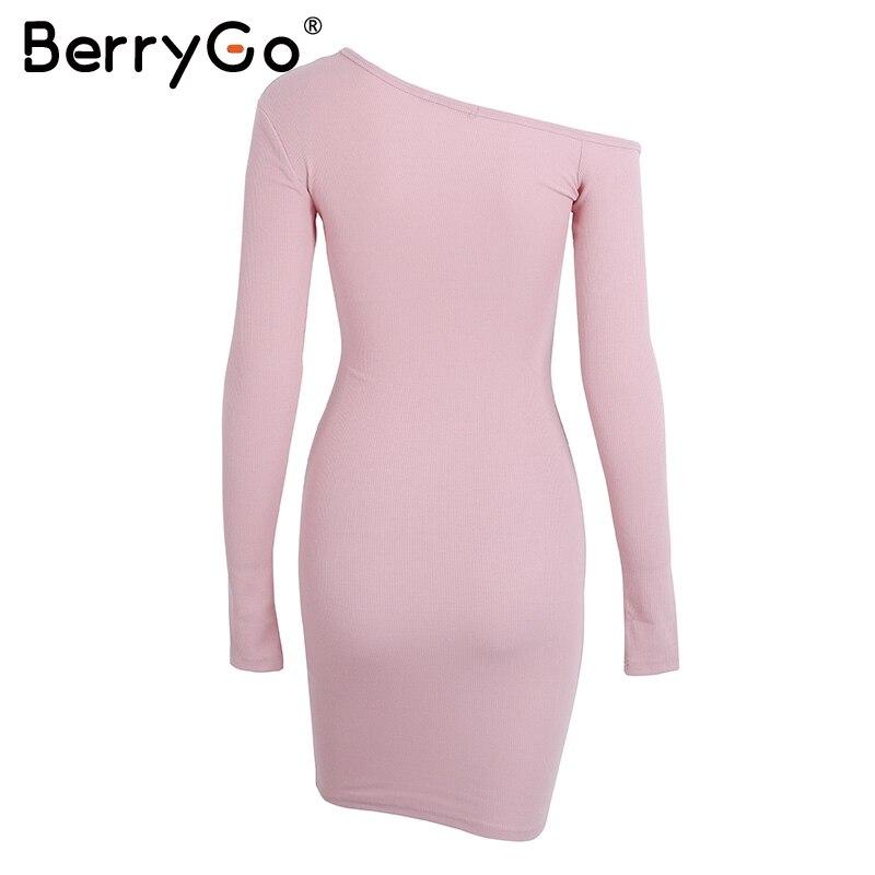 BerryGo Elegant off shoulder bodycon dress Long sleeve short evening party club white dress Women autumn winter black sexy dress 25