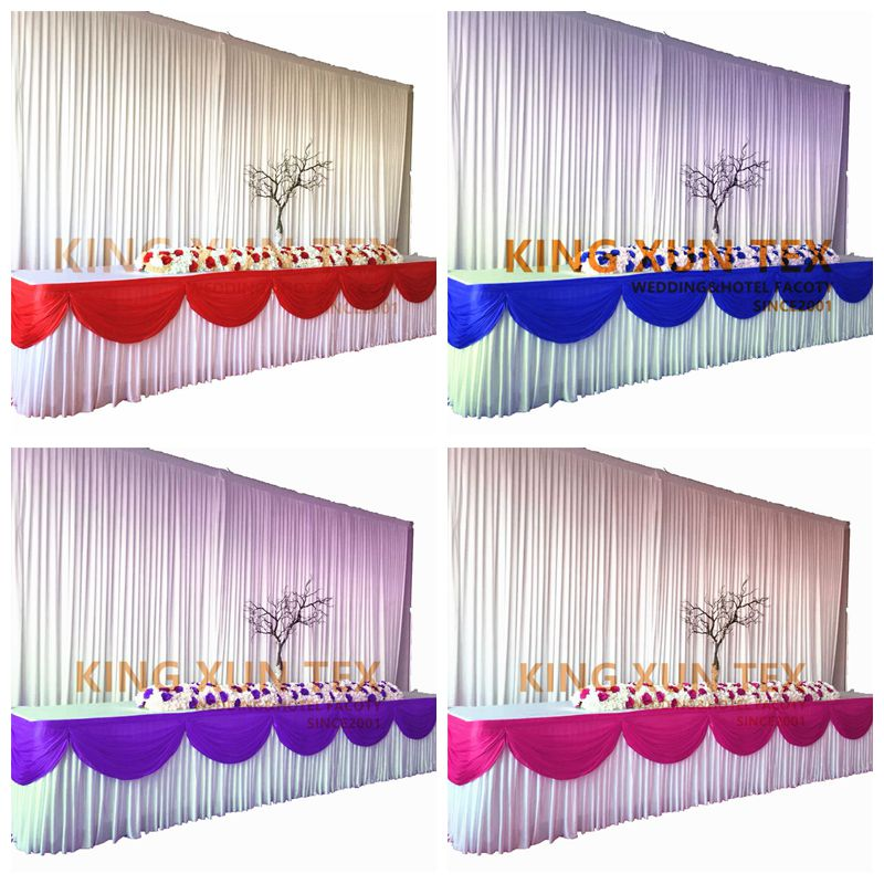 Hot Sale Valance Table Skirt Colorful Table Skirting With Swag Pleated Ruched Table Skirt for Wedding DecorATION