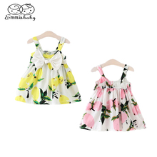 Emmababy Summer Cute Children dress Infant Baby Girl Floral Sleeveless Dresses Lemon Print Bowknot Sundress Clothes 0-3Y 2 Color