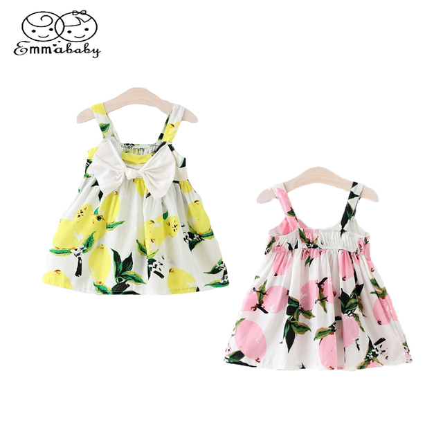 8ffd243688 Emmababy Summer Cute Children dress Infant Baby Girl Floral Sleeveless Dresses  Lemon Print Bowknot Sundress Clothes 0-3Y 2 Color