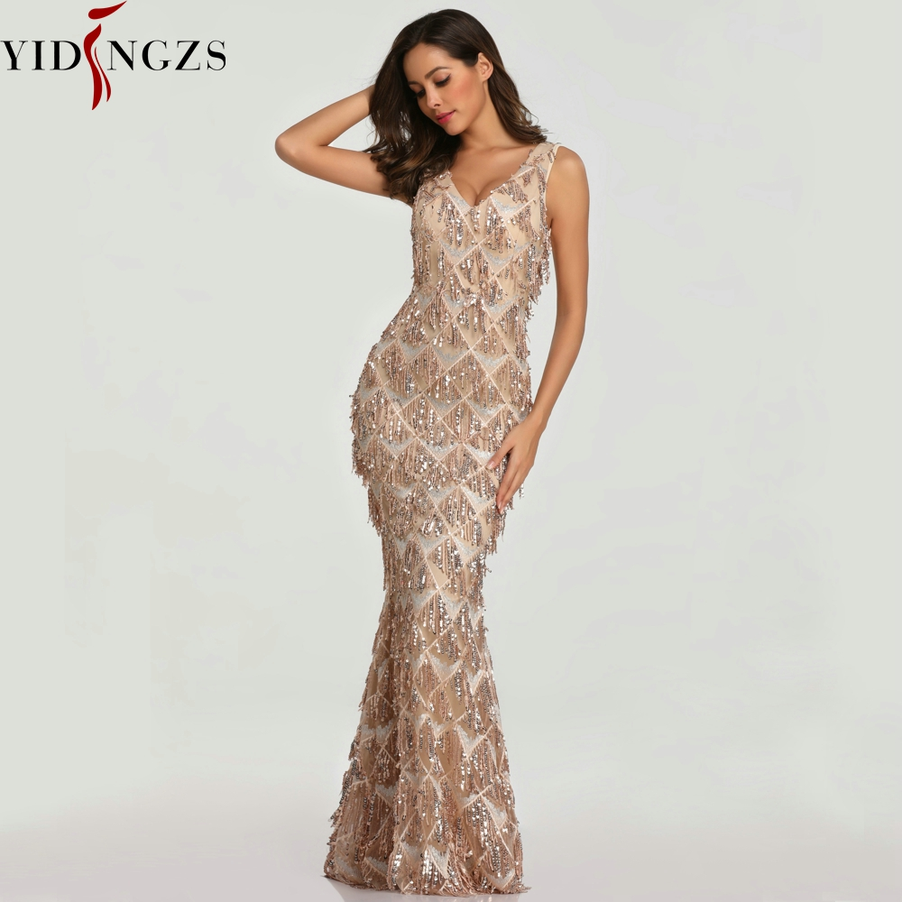 YIDINGZS 2019 Sexy V-neck Tassel Sequin Sleeveless Evening Dress Women Elegant Long Evenning Party Dress(China)