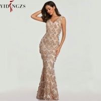 YIDINGZS 2019 Sexy V neck Tassel Sequin Sleeveless Evening Dress Women Elegant Long Evenning Party Dress