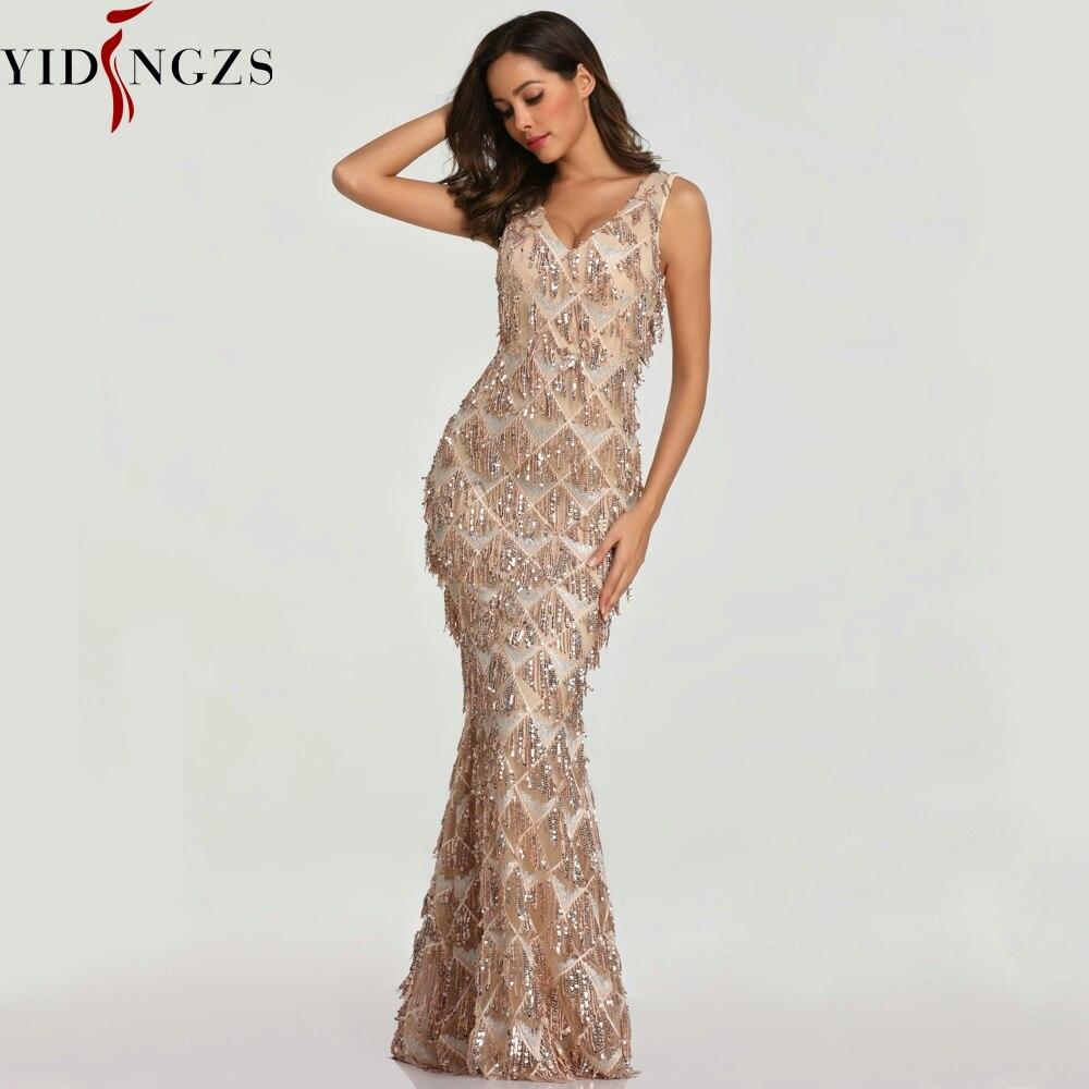 YIDINGZS 2019 Sexy col en v gland Sequin sans manches robe de soirée femmes élégant longue robe de soirée