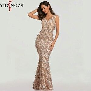 Image 1 - YIDINGZS 2020 seksi v yaka püskül pullu kolsuz akşam elbise kadınlar zarif uzun akşam parti elbise YD633