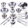 18Pcs Stainless Steel Kids House Kitchen Toy Cooking Cookware Children Pretend & Play Kitchen Playset - Silver