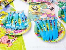 SpongeBob Theme Tableware Set Birthday Party Decoration Kids Balloons Napkin Cups Tablecloth Flag Straw Supplies