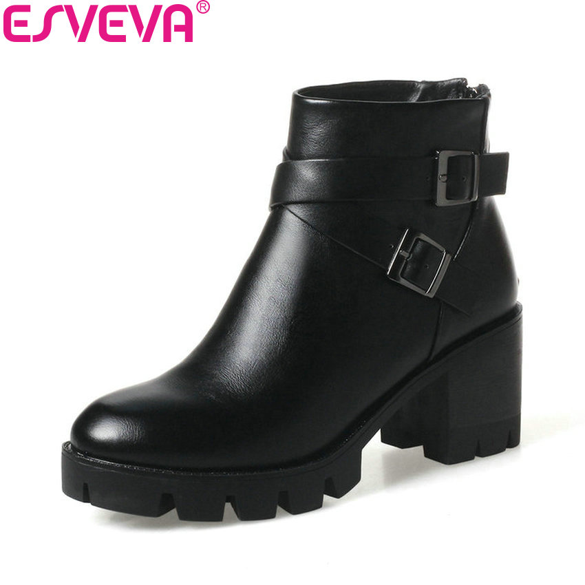 skate shoes classic discount sale US $30.39 48% OFF|ESVEVA 2020 Women Boots Western Style Platform Square  High Heel Round Toe Ankle Boots Autumn and Spring Ladies Shoes Size 34  43-in ...