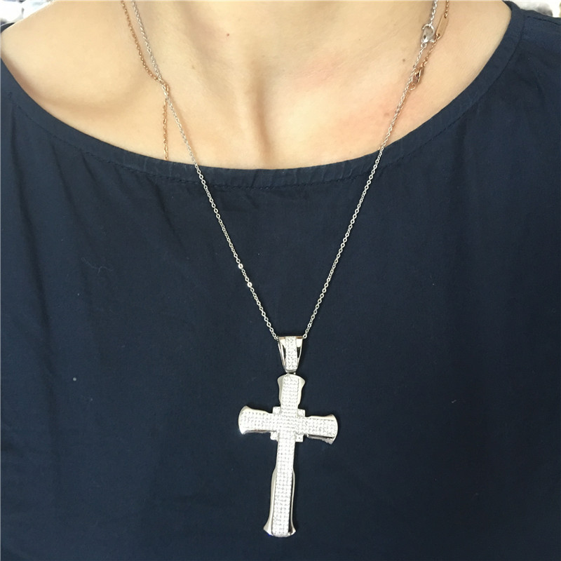 Women Silver Pave Crystal Cross Pendant Necklace with Chain Handmade Gifts for Birthday