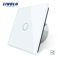 Livolo EU Standard Wall Switch 1 Gang 2 Way Control Switch, Crystal Glass Panel, Wall Light Touch Switch,VL-C701S-1/2/3/5