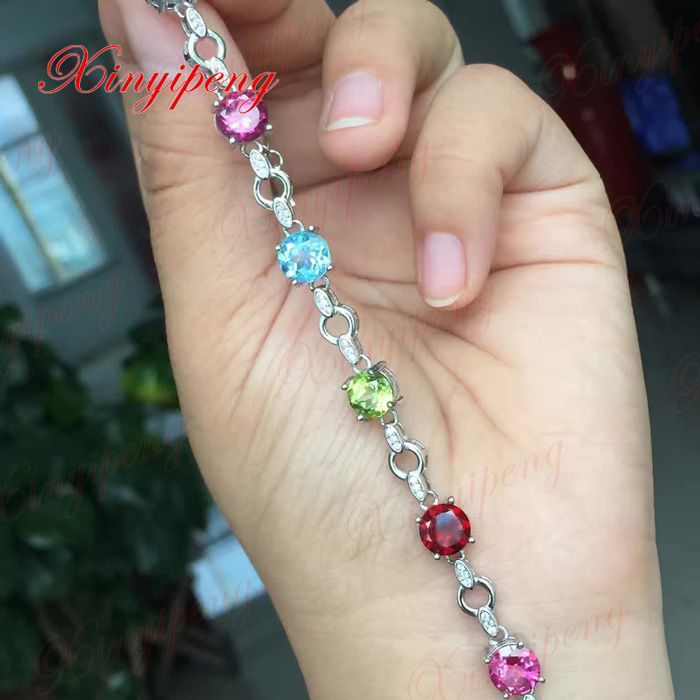 цены 925 sterling silver with 100% natural Topaz stone Garnet peridot amethyst bracelets women Fine jewelry