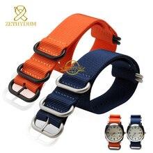Correa de reloj de Nylon perlon resistente al agua correa de reloj sport watch band azul naranja círculo de acero inoxidable hebilla 18 20 22 24 mm