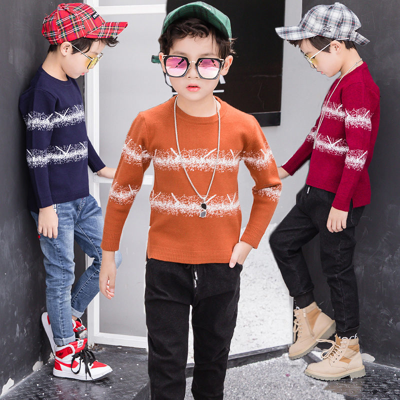 New Pattern Casual Style Autumn Knitted Boys Sweaters Students Children Clothes O-neck Side Slit kids christmas sweater