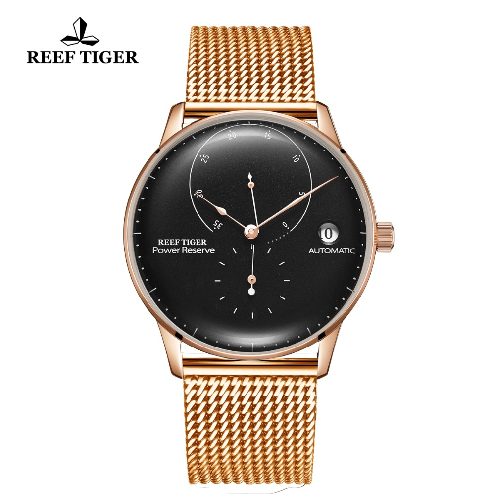 Reef Tiger/RT Luxury Brand Simple Style Automatic Watch Man Rose Gold Casual and Staple Watches Clock Water Resistant RGA82B0-2Reef Tiger/RT Luxury Brand Simple Style Automatic Watch Man Rose Gold Casual and Staple Watches Clock Water Resistant RGA82B0-2