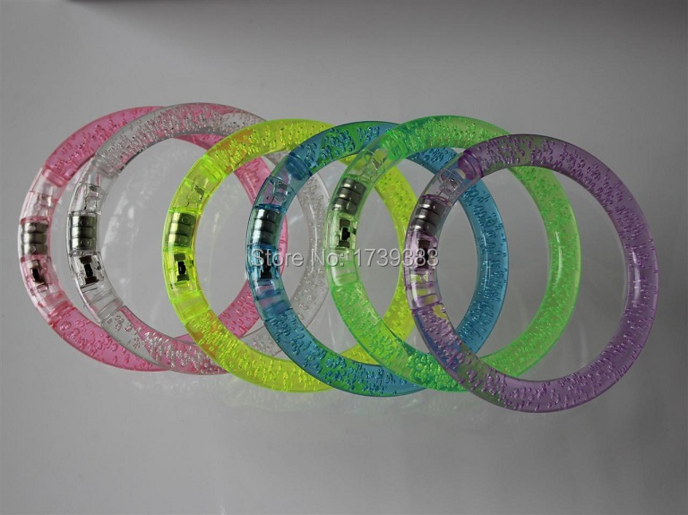 Free Ship 20Pcs colorful changing LED bracelet Light up Bracelet flashing Acrylic glowing bracelet wristband toys party supplies in LED Night Lights from Lights Lighting