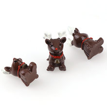 10Pcs 12*23mm 3D Mixed Christmas deer Resin mini garden decorative Miniature Figurine Crafts decorations for home(China)
