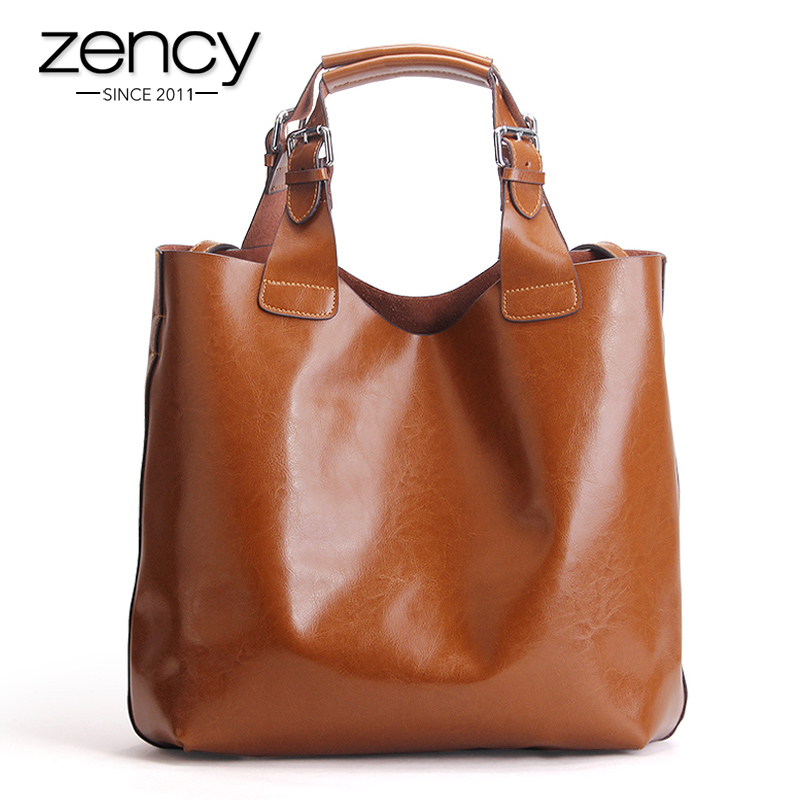 Vintage Solid High Quality Genuine Leather Women Handbag Ladies Tote Shopper Shoulder Messenger Bags Famous Brand Designer Purse