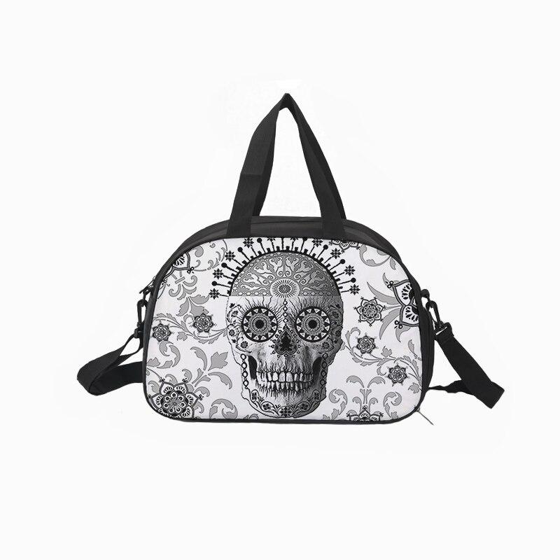 Crowdale Canvas traveling bag Multi-functional Hallowmas skull style print bag Capacity Waterproof Luggage Duffle Bag 43*30*23cm