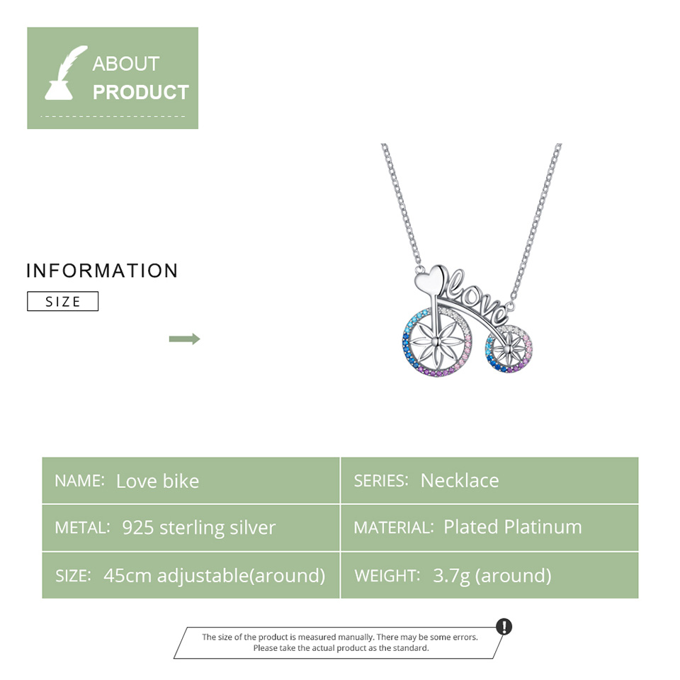 Image 5 - bamoer Romantic Love Bicycle Bike Necklace for Women Valentine's Gift 925 Sterling Silver Chain Short Necklaces Jewelry SCN336-in Pendant Necklaces from Jewelry & Accessories
