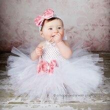 Белое пышное платье для девочек наряд для крещения и дня рождения костюм для Хеллоуина пышная розовая юбка и лента для волос