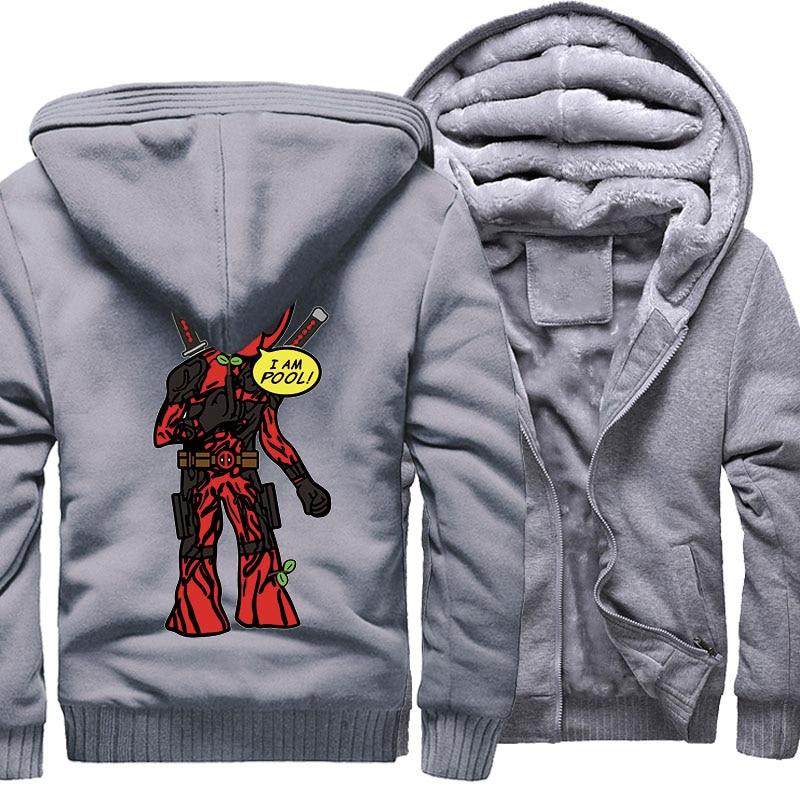 Men's Sweatshirt Print Cartoon DEADPOOL GROOT Funny Jacket Male 2018 Autumn Winter Thick Zipper Hoodies Men Streetwear Jackets
