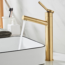 Pull out Basin Faucet Brass Bathroom Sink Mixer Tap Hot & Cold Brushed Gold Faucet with hand Shower head Lavatory Mixer Tap tub filler with hand shower polished golden bathroom bathtub faucet tap 98012 shower basin sink brass faucet mixers