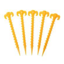 цены на New 5 Pcs Plastic Screw Outdoor Camping Tent Peg Nails Spiral Sports 20cm Travel Nail Kit Accessories for Travel Tent  в интернет-магазинах