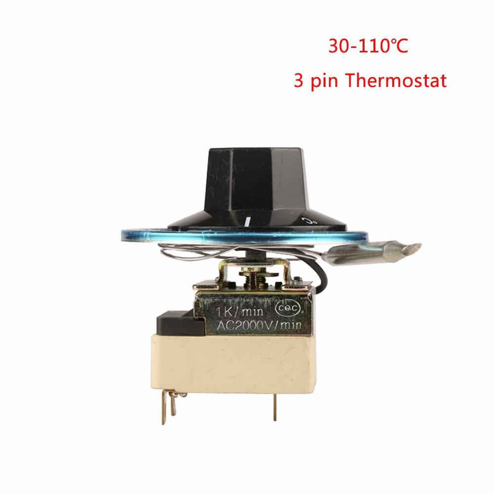 """3 kontaktų """"kapiliarinio"""" termostato 30–110 laipsnių temperatūros valdymo jungiklis, reguliuojamas temperatūros reguliatorius, paprastai uždarytas"""