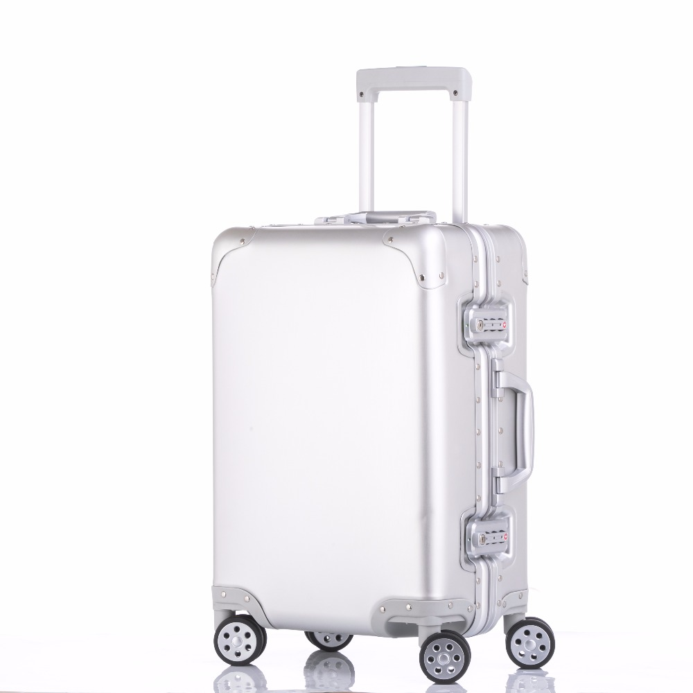 100% pure Aluminum Alloy pull rod suitcase 20/24/29 inch metal luggage fashionable new type of suitcase luggage pull rod box